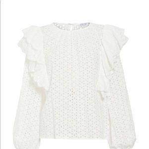 English Factory Eyelet Ruffle blouse in White